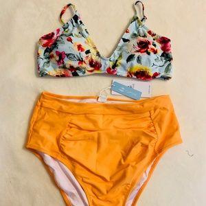 85f87724acc Cupshe Floral Orange Crush High-waisted Bikini